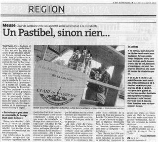 Scan Est républicain Pastibel 26 aout 2010